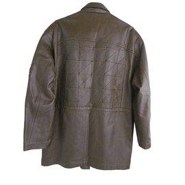 Pierre Balmain-Balmain Quilted Leather Men's Coat-Khaki