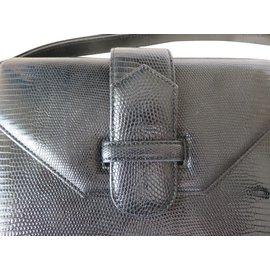Yves Saint Laurent-YSL Sac Cuir Réptil noir Valeur 2500 EUR-Noir