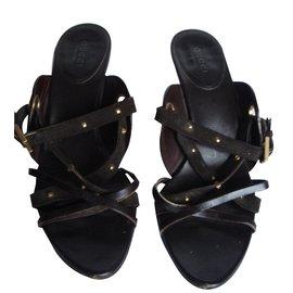 Gucci-Sandales-mule chocolat talon haut Gucci-Marron