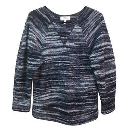 Isabel Marant Etoile-pull chiné finition cuir-Gris anthracite