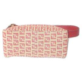 Fendi-FENDI sac baguette en tissu zucchino rouge-Blanc,Rouge