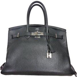 Hermès-Sac à main Hermès Birkin 35 en cuir Togo noir en excellent état!-Noir