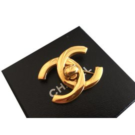 Chanel-Broche Chanel dorée-Doré