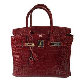 Hermès-Birkin 30 Crocodile-Bordeaux