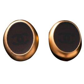 Chanel-Boucles d'oreilles-Marron,Doré