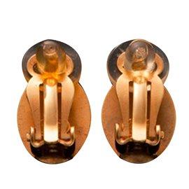 Chanel-Earrings-Brown,Golden
