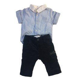 Burberry-Set : Burberry pants in navy blue cotton velvet + Hugo Boss sleepsuit style shirt in blue and white cotton-White,Blue