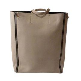 Céline-Celine Cabas Vertical Zip Medium Tote Bag-Cream