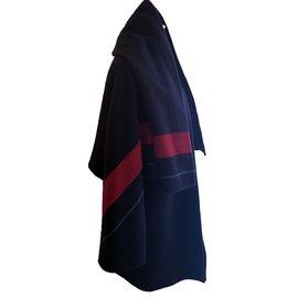 Hermès-manteau Hermès double face en cachemire-Rouge,Bleu