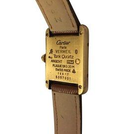 Cartier-Montre Must Tank Vermeil-Marron