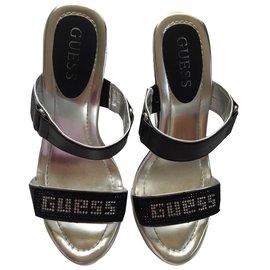 Guess-Mules compensées-Noir,Blanc
