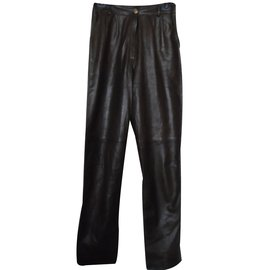 Céline-Leather trousers-Brown