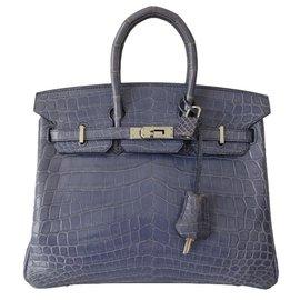 Hermès-SAC HERMES BIRKIN CROCODILE 25-Bleu,Violet