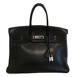 Hermès-Sac HERMES Birkin cuir Togo noir 35 cm-Noir