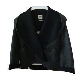 Hermès-Blouson col châle-Gris