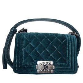 Chanel-Mini boy velour-Vert