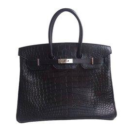 Hermès-Birkin 35 alligator mat-Noir
