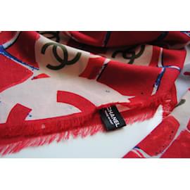 Chanel-Châle cachemire et soie-Blanc,Rouge,Bleu
