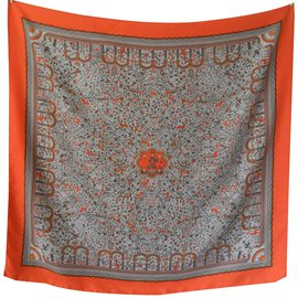 Hermès-carré hermès : Les jardins d'Armènie assez recherché et rare-Orange