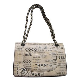 Chanel-Timeless Medium Newspaper print So black-Beige