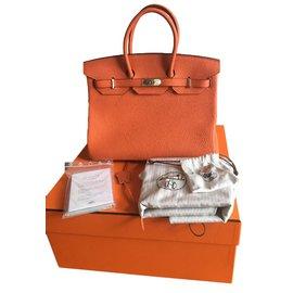 Hermès-Hermès Birkin 35 Togo Orange état neuf full set !-Orange