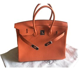 Hermès-Hermès Birkin 35 Togo Orange état neuf full set !-Orange