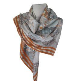 Hermès-Châle patchwork horse-Gris