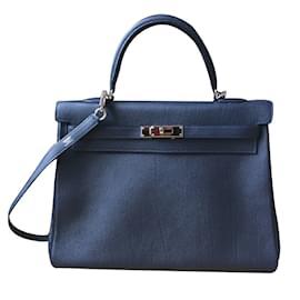 Hermès-Sac Kelly 35Togo Bleu Nuit-Bleu