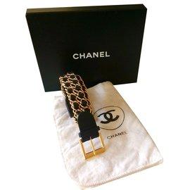 Chanel-Belle ceinture cuir noir et chaines dorées-Noir
