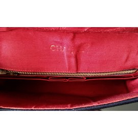 Chanel-Sac chanel vintage en jersey-Rouge,Bleu