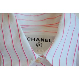 Chanel-Top-Blanc,Rouge