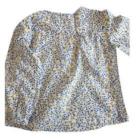 Massimo Dutti-Top fille-Blanc,Bleu,Jaune