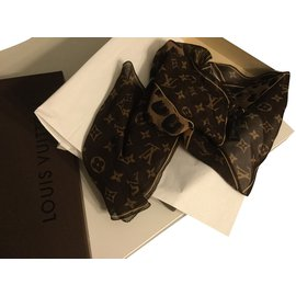 Louis Vuitton-Foulard soie monogramme-Marron