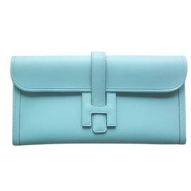 Hermès-POCHETTE HERMES JIGE-Bleu