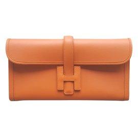Hermès-POCHETTE HERMES JIGE ELAN-Orange