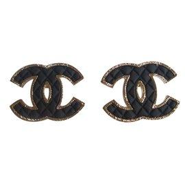 Chanel-Boucles d'oreilles-Noir,Doré