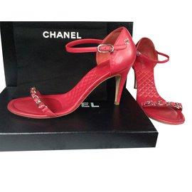Chanel-Sandales à bride-Rouge