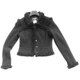 Chanel-Petite veste en tweed noir Chanel-Noir