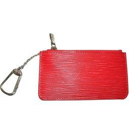 Louis Vuitton-Porte clés en cuir-Rouge