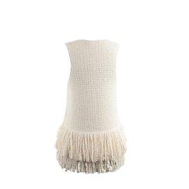 Céline-Top franges-blanc cassé