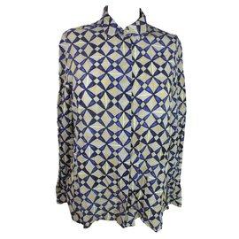 Balenciaga-Chemise soie-Bleu,Beige