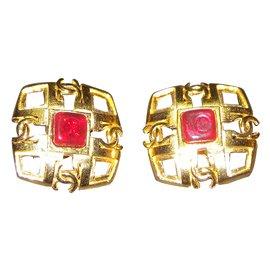 Chanel-Boucles d'oreilles-Rouge,Doré