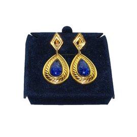 Lanvin-Boucles d'oreilles-Bleu,Doré