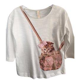 Autre Marque-T-Shirt Sac à Châton-Blanc