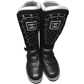 Chanel-Motorcycle boots size 39-Black