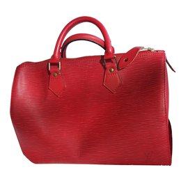 Louis Vuitton-Speedy 35 cuir rouge-Rouge