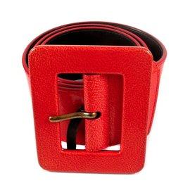 Yves Saint Laurent-Ceinture à boucle carrée-Rouge