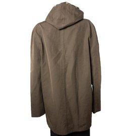 Louis Vuitton-Veste longue à capuche damier-Marron