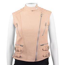 Céline-Tan Leather Biker Vest-Beige