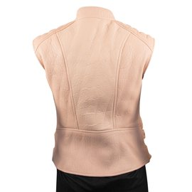 Céline-Tan Leather Biker Vest-Beige